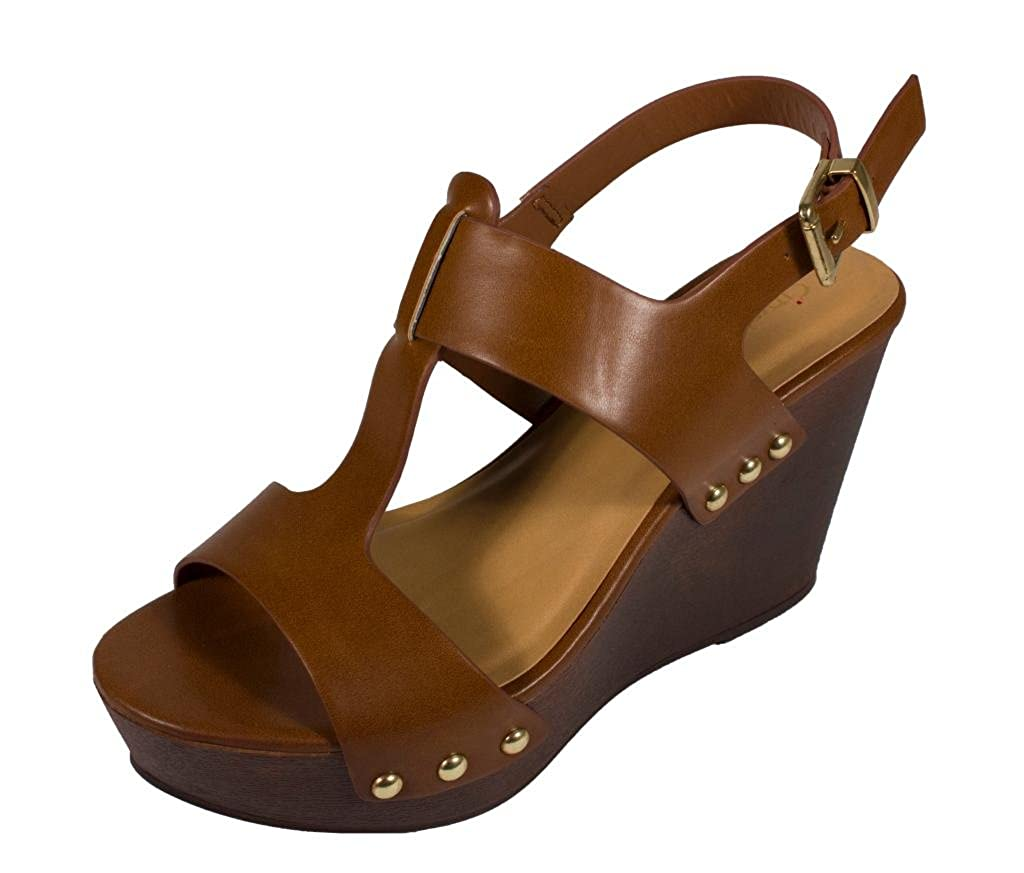 SUPPORT! Women's T-Strap Studded Trim Platform Wedge Sandals in Tan Leatherette B00UM2EJO4 6 B(M) US
