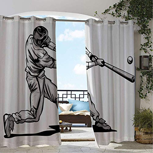 Linhomedecor Outdoor Waterproof Curtain Boys Room Baseball Hitter Swinging at a Fast Pitch Athlete Sportsman Hand Drawn Grey White Black Porch Grommet Printed Curtain 84 by 108 inch