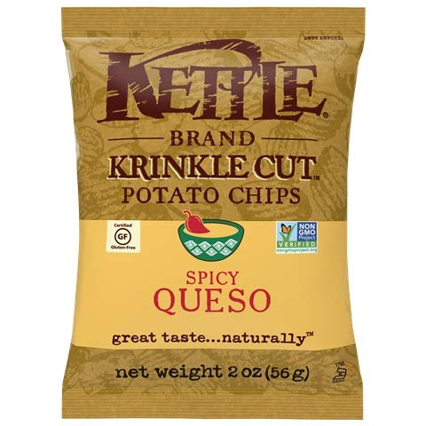 Kettle Brand Spicy Queso Krinkle Cut Potato Chips Gluten Free Non-GMO 2 oz Pack of 6