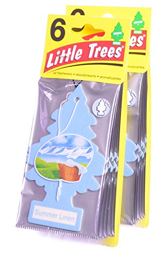 (Little Trees Cardboard Hanging Car, Home & Office Air Freshener, Summer Linen (Pack of 12) )