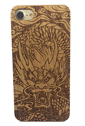 iPhone 7/8 Case, Genuine Cherry Wood Hard Shell Case with Laser Engraved Chinese Dragon for iPhone 7 and 8 (GMPC-I8-01) -