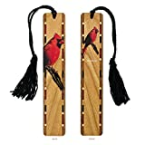 Cardinal - Bird Wooden Hand Made Bookmarks with Tassel