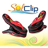 Beach Towel Clips, pegs, clamps, épingles, pinces à serviette de plage, SolClip Canada, Flip Flop Fire