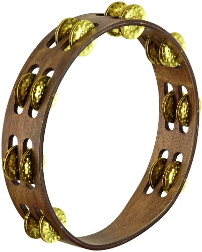 Meinl Percussion TA2V-WB 10-Inch Vintage Wood Tambourine with Double Row Hammered Brass ()