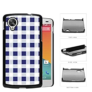 Plaid Design Pattern In Navy Blue Hard Plastic Snap On Cell Phone Case LG Nexus 5