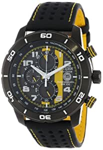 "Citizen Men's CA0467-38E ""Eco-Drive Promo"" Chronograph Stainless Steel Watch with Yellow-Stitched Black Strap"