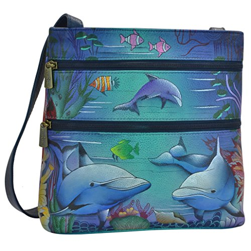 Anuschka Hand Painted Designer Leather Handbag -Christmas gifts for women- Top Zip Travel cross body (Dolphin World 447 - Painted Dolphin Hand
