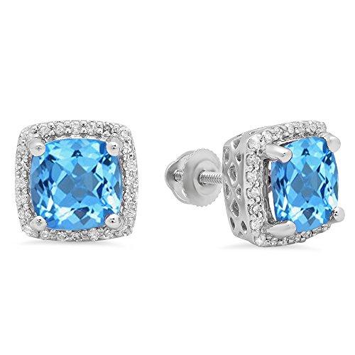 10K White Gold Cushion Cut Blue Topaz & Round Cut White Diamond Ladies Stud Earrings