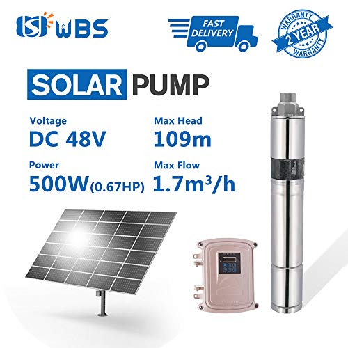 WBS Pump Deep Well Solar Water Screw Pump Submersible Solar Bore Pump, 2/3hp, 48V, 7.5GPM, 358' Head, 3