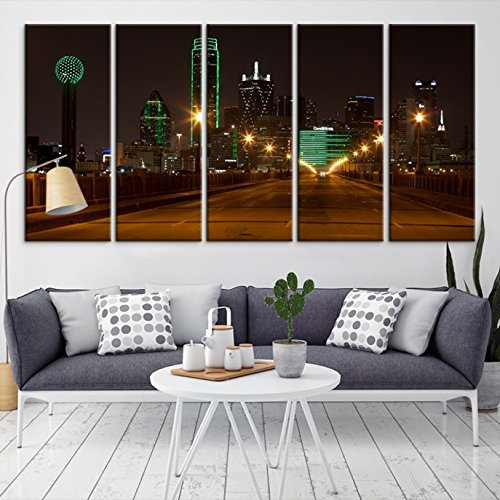 Amazon.com: Dallas Skyline Night Downtown Multi Color Wall Art ...