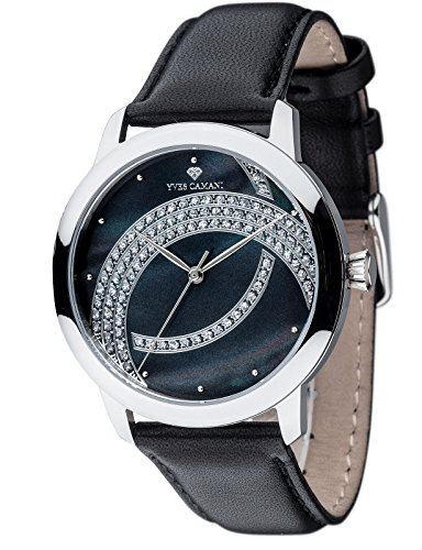 Yves Camani Arcenciel Women's Wrist Watch Quartz Analog Dial Mother Of Pearl Silver Stainless Steel Casing & Black Leather Strap