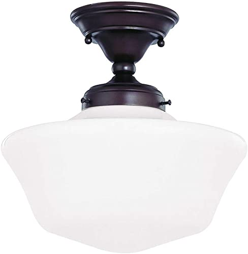 12-Inch Schoolhouse Semi-Flush Ceiling Light with Opal White Glass and in Bronze Finish