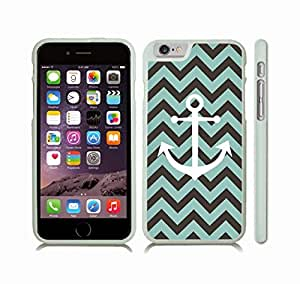 iStar Cases? iPhone 6 Plus Case with Chevron Pattern Stripe Mint Black, White Center Anchor Black , Snap-on Cover, Hard Carrying Case (White)