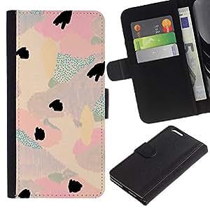 For Apple iPhone 6 Plus(5.5 inches),S-type® Abstract Floral Light Teal Pink Purple Petal - Dibujo PU billetera de cuero Funda Case Caso de la piel de la bolsa protectora