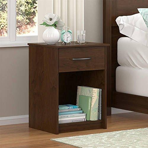 Mainstays Nightstand MDF End Tables Pair Bedroom Table Furniture Multiple Colors (1-piece, Northfield Alder)