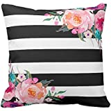 UOOPOO Trendy Pink Watercolor Floral Black White Stripe Outdoor Throw Pillow Case Square 16 x 16 Inches Soft Cotton Canvas Home Decorative Wedding Cushion Cover for Sofa and Bed One Side