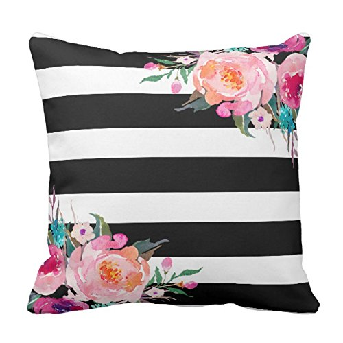 (UOOPOO Trendy Pink Watercolor Floral Black White Stripe Outdoor Throw Pillow Case Square 16 x 16 Inches Soft Cotton Canvas Home Decorative Wedding Cushion Cover for Sofa and Bed One Side)
