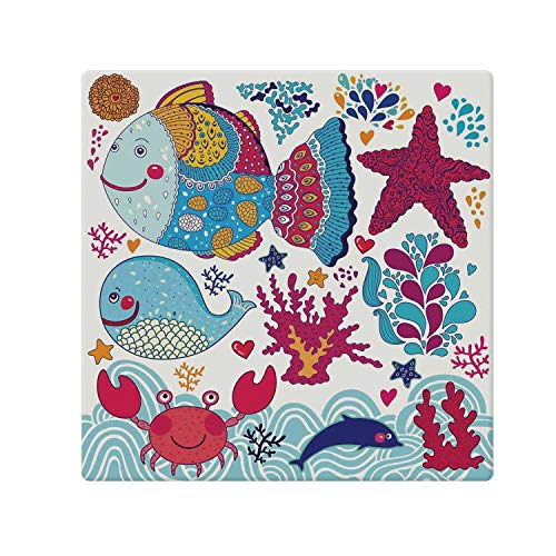 - C COABALLA Whale Comfortable Doormat,Funny Fishes Starfish Coral Crab Underwater Life Waves Marine Clipart Illustration for Home Office,70.8