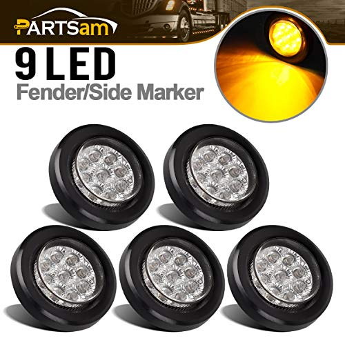 Partsam 5Pcs 2 Inch Round Amber LED Side Marker and Clearance Lights 9 Diodes Clear Lens with Reflectors Grommet and Pigtails Mount Cab Panel Light Sealed Waterproof Trucks Trailer Lights 12V DC