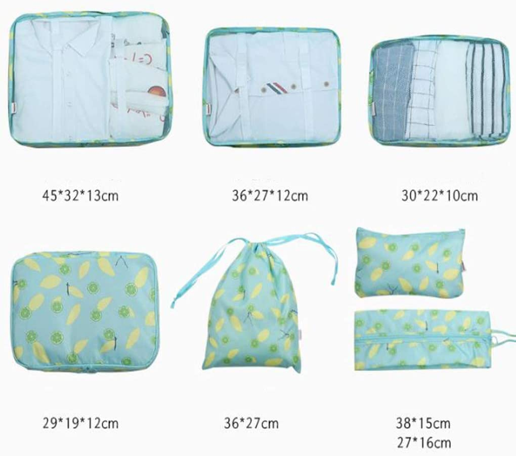 Sarazong 7 PCS Packing Cubes Multi-Color Travel Luggage Organizer Suitcase Packing Cubes Travel Luggage Bags Packing Organizers,B