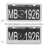 Ohuhu 2 PCS Slim Bottom License Plate Frames Polish Mirror Powder Coated WONT Block Letters / Stickers