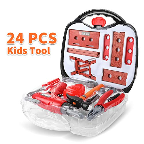 Toddler Tool Kit, 24pcs Durable Tool Toys with Electronic Cordless Drill,Other Pretend Play Construction Accessories, A Sturdy Case for Age 3+ Toddlers Practical Ability from Geyiie