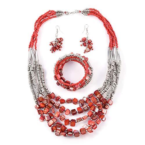 Handmade Coastal Stainless Steel Earrings Wrap Bracelet Multi Strand Necklace 22