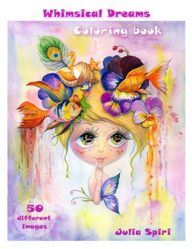 Adult-Coloring-Book-Whimsical-Dreams-Color-up-a-Fantasy-Magic-Characters-All-ages-50-Different-Images-printed-on-single-sided-pages