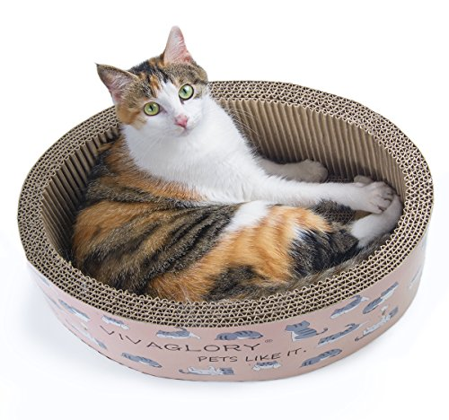 Vivaglory Oval Scratching Bed Cat Scratcher Pad Durable Cardboard Lounge with Catnip