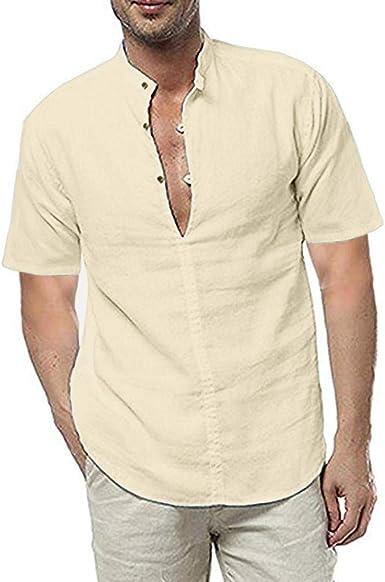 Brillanto Camisa de Lino Hombre Medieval Cuello en V Camisas Manga Corta Blusas para Tallas Grandes Casual y Fresca: Amazon.es: Ropa y accesorios