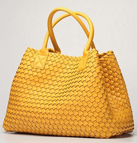 Luxe Yellow À tout Couleur Bonbon Grand Bandoulière Femmes Premium Main De Fourre Otomoll Mode Cuir Sacs Simili Sac fAT8Eq