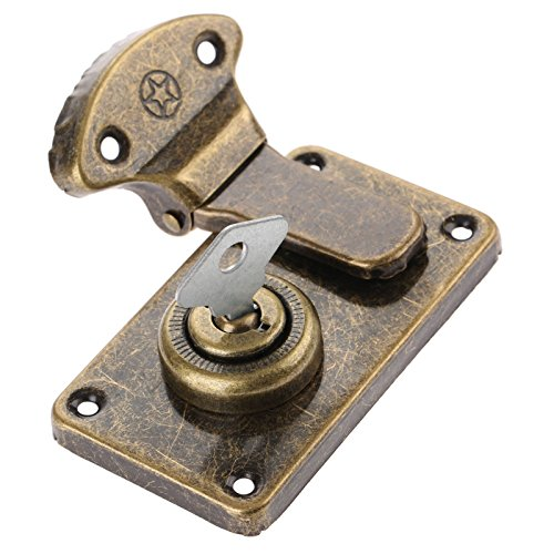 Antique Cabinet Locks (Dophee Antique Brass Lock Box Hasp Latch with Key for Jewelry Box Drawer Cabinet Cupboard)