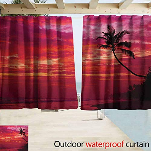 (DocGike Ocean Outdoor Grommet Window Curtain Sunset View from a Tropical Island Beach with Silhouette of Palm Tree on The Shore Art Print Insulated with Grommet Curtains for Bedroom W55 xL72 Red )