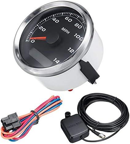 WyaengHai Tachometer Wireless Auto-Motorrad-GPS-Geschwindigkeitsmesser wasserdichtes Digital-Entfernungsmesser 85mm 225 KM/h 140mph (Color : Black, Size : One Size)