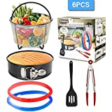 6QT Pressure Cooker Accessories with Steamer Basket, 7in Springform Pan, Sealing Rings,Silicone Spatula,Food Tong, Perfect Compatible with for 6Qt Instant Pot/Pressure Pot (6PCS)