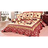 Tache Home Fashion BM4353-S S 4 Piece Rose Garden Comforter Set, Single, Red, Floral, Beige