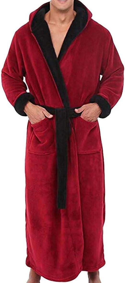 POQOQ Sleepwear Coat Winter Shawl Bathrobe Long Sleeved Robe for Men /& Women XL White Man