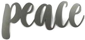 Raw Steel Unpainted Word Art - peace (Small)