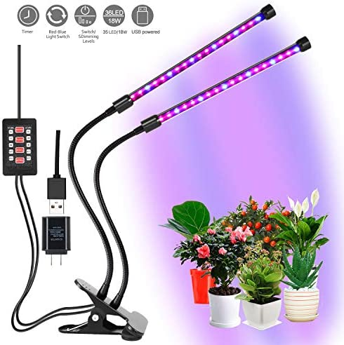 CLEECLI LED Grow Lights for Indoor Plants Dual Head Clamp Clip Plant Growing Lamp with Red, Blue Spectrum, 3 Working Modes, 5 Dimmale Levels, Ajustable Gooseneck