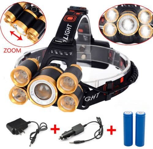 Zoomable 80000LM 5x T6 LED Rechargeable 18650 Hunting Headlamp Head Light Torch