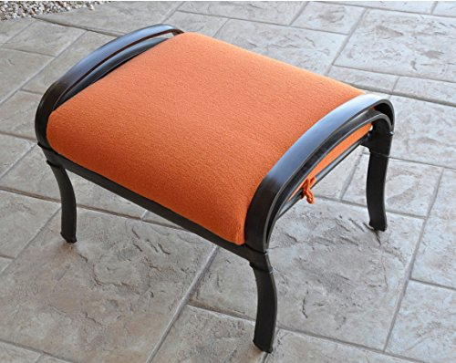 CushyChic Outdoors Terry Slipcover for Ottoman Cushion in Tangier - Slipcover Only - Cushion Insert NOT Included