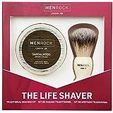 Men Rock Sandalwood Shaving Cream and Brush – The Life Shaver Shaving Cream Brush Kit – Premium Quality Men's Shave Set for a Comfortable Shave