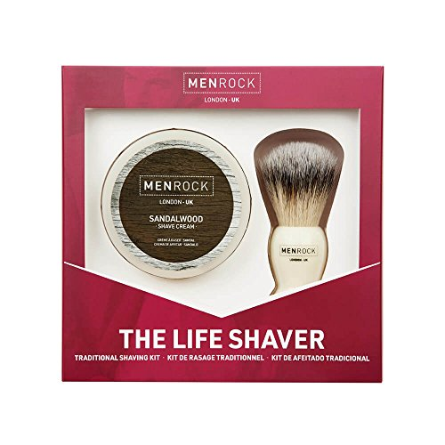 Men Rock Shaving Brush Set with Sandalwood Shaving Cream, The Life Shaver Smooth Shave Cream Brush Kit, Premium Shaving Cream and Quality Shaving Brush, Shaving Gift Set for a Comfortable Shave