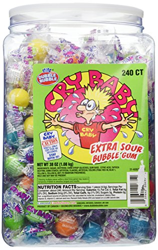 Cry Baby Extra Sour Bubble Gum 240ct. Tub, 38oz (Bubble Baby Gum)