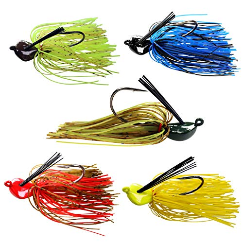 0.7oz Bass Flipping Jigs Weedless Saltwater Freshwater Fishing Jigs with Skirts Mixed Color Flipping Jigs for Bass Fishing 5 Pieces/Pack