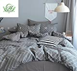 king side duvet cover - Modern Duvet Cover Stripe King with Grey Stripes Print 100% Cotton King Size with Side Zipper Closure, Soft and Comfortable Reversible Hotel Bed Cover Sets by LifeTB