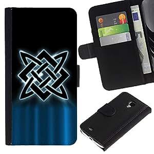 EuroCase - Samsung Galaxy S4 Mini i9190 MINI VERSION! - Nordic Tribal - Cuero PU Delgado caso cubierta Shell Armor Funda Case Cover