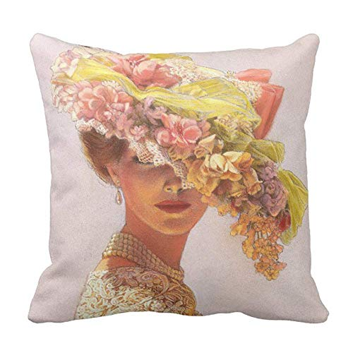 (AUUOCC Elegant Art Decor Floral hat Victorian ladyThrow Pillow Cushion Cover 18x18 Inch 45x45cm Colorful)