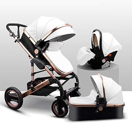 Baby Stroller,Babyfond-T900 3in1 Folding Baby Carriage Travel System Pram Shockproof Pushchair with Lightweight Sleeping Basket,Joggers Pram for Newborn (White)