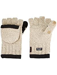 Heat Factory 994-mens Fleece-Lined Ragg Wool Gloves with Fold-Back Finger Caps and Hand Warmer Pockets, Men's